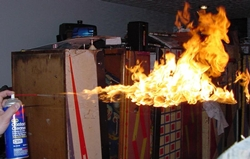 WD 40 in flames